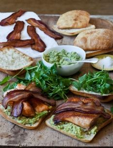 Barefoot Contessa - Recipes - Salmon & Guacamole Sandwiches. I've also used her green goddess dressing.