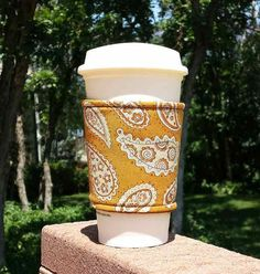 Fabric coffee cozy / cup holder / coffee sleeve / by dizzlePOP, $6.50