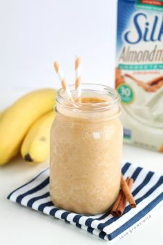 Turn your protein shake into a delicious pumpkin treat! It's satisfying, and super tasty!  From LoveGrowsWild.com and using Silk Almondmilk.