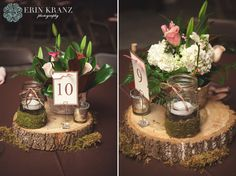 Unique rustic wedding centerpieces on real wood with mason jars - Erin Kranz Photography » Charlotte NC Wedding Photographer » Hunting Creek Farms Wedding