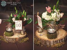 Unique rustic wedding centerpieces on real wood with mason jars - Erin Kranz Photography » Charlotte NC Wedding Photographer » Hunting Creek Farms Wedding