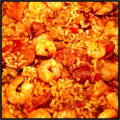 Hot and spicy chicken, chorizo & prawn paella!