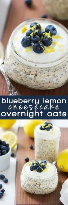Blueberry Lemon Cheesecake Overnight Oats make breakfast simple! Cheesecake flavored overnight oats bursting with lemon and blueberries, all come together in a protein packed, make ahead breakfast! (healthy smoothie recipes with oats) Simple Cheesecake, Healthy Cheesecake, Lemon Cheesecake, Blueberry Cheesecake, Protein Packed Breakfast, How To Make Breakfast, Breakfast Recipes, Breakfast Ideas, Blueberry Breakfast