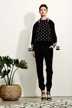 Polka Dot Blouse, Cuff Pants and Varsity Jacket (or breton stripe jacket)