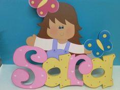 nombre con niña en MDF                                                       … Tole Decorative Paintings, Tole Painting, Cute Alphabet, Bubble Letters, Cute Little Girls, Art Girl, Wood Crafts, Decoupage, Nursery