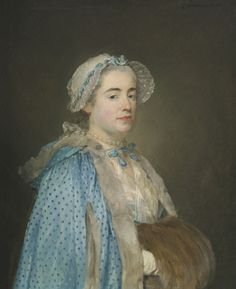 PORTRAIT OF LADY, PROBABLY MADAME BLONDEL D'AZINCOURT, DRESSED IN A BLUE POLKA DOT CAPE AND FUR MUFF, 1766, by Jean-Baptiste Perronneau (1715 - 1783) Isn't the blue polka dot cape fabulous!!!