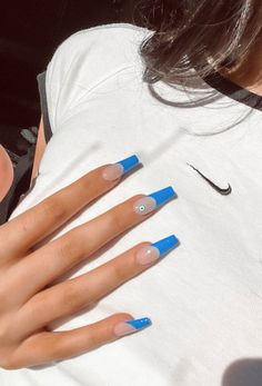 Classy Acrylic Nails, French Tip Acrylic Nails, Blue Acrylic Nails, Acrylic Nails Coffin Short, Square Acrylic Nails, Summer Acrylic Nails, Funky Nails, Trendy Nails, Long French Tip Nails