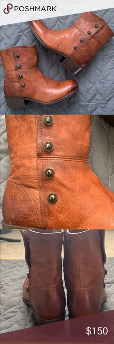 52e476b6f76 FRYE Lynn Miltary snap short boot Firm Price FRYE Lynn Military Short boot  with snaps cognac