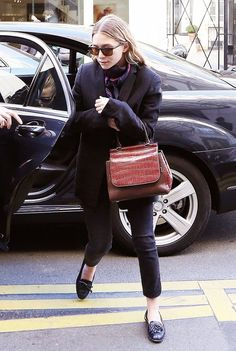 On Ashley Olsen: The Row bag.
