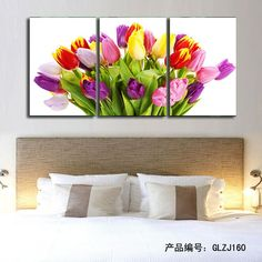 3Pcs (No Frame) Pink Flowers Wall Art Picture Modern Home Decoration Living Room or Bedroom Canvas Print Painting Wall picture $15.59
