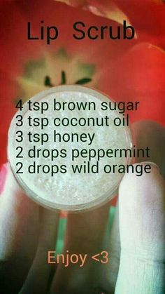 Home made DIY lip exfoliating scrub.