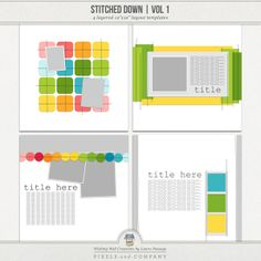 This set of 4 - 12x12 layered templates is great if you love the look of stitched paper, as it includes actual dimensional stitching. Each layout comes with four stitching options: white stitching (shadowed and unshadowed) and black stitching (shadowed and unshadowed).