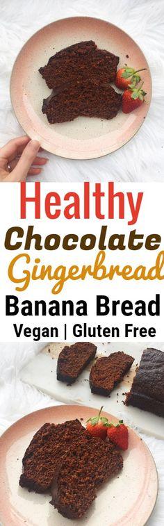 Healthy Chocolate Gingerbread Banana Bread Recipe #bananabread #chocolate #ginger #gingerbread #healthy #vegan #dessert #glutenfree #cacao #buckwheat #healthysnack