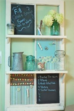 Old window turned memo board ~ This is the best one I've seen.with shelves too! I love the versatility of chalkboard, magnet, and window panes. Now to find some old windows! Vintage Windows, Old Windows, Antique Windows, Windows Decor, Recycled Windows, Home Projects, Craft Projects, Projects To Try, Project Ideas