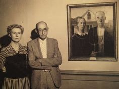 The subjects for Grant Wood's, American Gothic, pose beside the iconic painting in 1942. The painting, which is now at the Art Institute, portrays a farmer and his spinster daughter. The models were Grant Wood's sister and their family dentist.
