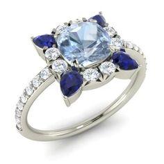 Milan Engagement Ring with Cushion cut Aquamarine, Sapphire, SI Diamond   2.87 carat Rectangle Aquamarine  Halo Engagement Ring in 14k White Gold   Diamondere