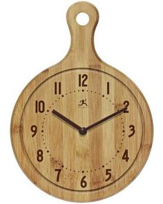 Food lovers will adore the tasty style of the Infinity Instruments Chef Collection - Bon Appetit! This clock features a cutting board design. Wall Clock Wooden, Wood Clocks, Metzger, Kitchen Wall Clocks, Tabletop Clocks, Bamboo Wall, Wall Clock Design, Diy Clock, Block Wall