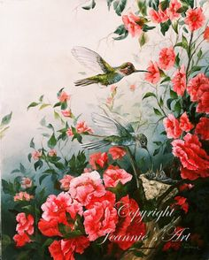 Hummingbird Family Matted Fine Art Print by JeansArt64 on Etsy, $39.00 http://www.etsy.com/shop/JeansArt64?ref=top_trail