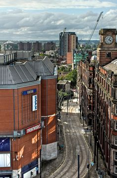 Balloon Street as viewed from the top deck of the NCP at Shudehill station, looking towards Victoria Station past The Printworks, Manchester, England, UK, 2010, photograph by Paul Gregory.