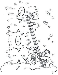 Connect the Dots - Care Bears - Number picture Boy Coloring, Bear Coloring Pages, Coloring Pages For Boys, Disney Coloring Pages, Printable Coloring Pages, Coloring Sheets, Maze Drawing, Drawing Sheet, Care Bears
