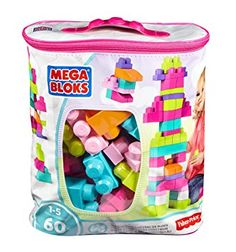 Bloques de construcción 60 piezas con bolsa ecológica, bolsa Rosa (Mattel DCH54)