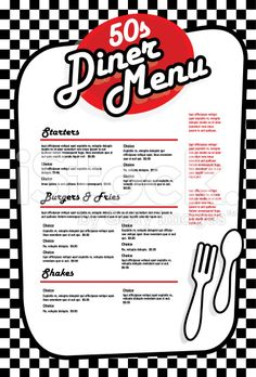 Late night retro Diner menu layout red and white royalty-free late night retro diner menu layout red and white stock vector art amp; more images of diner Diner Logo, Diner Menu, Diner Party, Party Fiesta, Retro Party, 1950s Party, 1950 Diner, Retro Diner, 50s Diner Kitchen