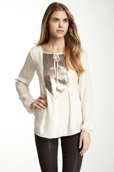 Madison Marcus Sequin Front Silk Blouse