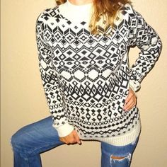 Old Navy crème black tribal Aztec sweater top Old Navy crème black tribal Aztec women's sweater top | S | Small  Career | professional | sophisticate  Never worn | new without tags   Crème | black color  Cotton | poly blend  Soft | cozy | classy  Pair this with  jeans and flats  Pair this with professional pants and heels  Pair this with black jeggings for ski style Old Navy Sweaters