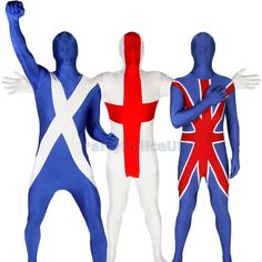 Morphsuit Flag Adults Original Fancy Dress Costume Scotland England Country NEW