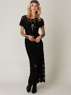 8accf02ae428e Free People Hand Crochet Maxi Dress in Black - Lyst Crochet Dresses