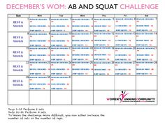 Our December's WOM: AB and SQUAT Challenge  Click on the image to go to our website for links to videos on how to correctly perform the different crunches.