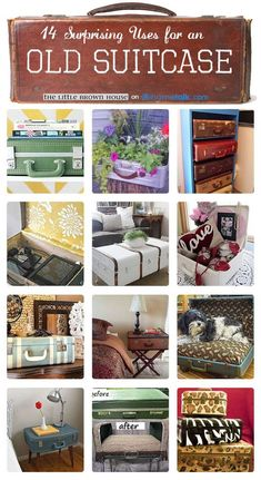 Anyone feel like taking on these projects? I'll have 4 hard case suit cases for sale at my garage sale! Love me some up-cycled suitcases! Suitcase Shelves, Suitcase Decor, Suitcase Table, Vintage Suitcases, Vintage Luggage, Painted Suitcase, Old Luggage, Recycling, Vintage Trunks
