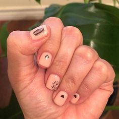 Tiny gold and black hearts nail tattoos / Valentines day nail | Etsy