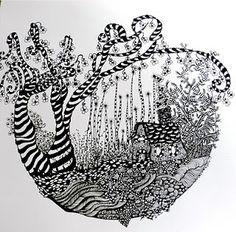 Zentangle inspired art. My place in the woods. Original g.a.s design. by pat-75