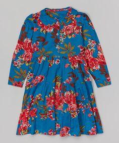 Look what I found on #zulily! Blue & Red Floral Dress - Toddler & Girls #zulilyfinds