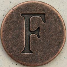 Copper Uppercase Letter F
