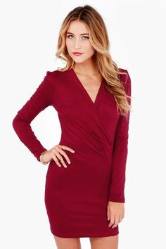 Play the part of the sizzling French actress with the Foreign Film Burgundy Dress to give you a l...