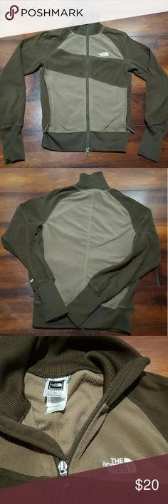 Women's North Face fleece track jacket, size small Brown and tan women's North Face fleece track jacket, size small.  Perfect shape worn once. North Face Tops Sweatshirts & Hoodies