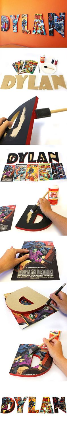 Super Cute! Wood Comic Book Letters. It'd also be cute to use an old newspaper
