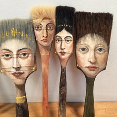Surrealist Artist Paints Unique Portraits on Worn Paintbrushes and Other Found Objects via @laughingsquid