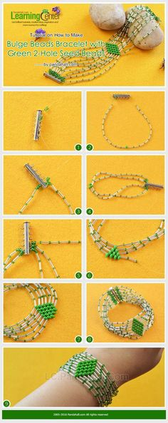 Tutorial on How to Make Bulge Beads Bracelet with Green 2-Hole Seed Beads from LC.Pandahall.com
