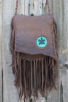 Gypsy crossbody purse with beaded turtle totem Handmade leather crossbody bag with fringe