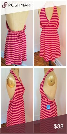 NWT Free People peach berry striped halter dress Nwt Free People peach berry striped halter dress. Perfect dress for the beach! Exactly as shown in photographs. Size large. Free People Dresses Strapless