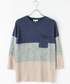 Beauty&youth United Arrows ユナイテッドアローズ  MENS BY リネン パネル クルーネック クォータースリーブ ニット /  Stripe knit on ShopStyle