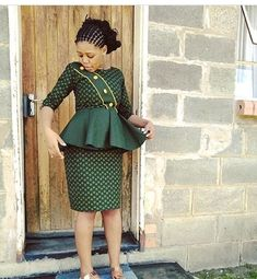 The best thing about Africa styles is that they are available for ladies of all ages. LATEST SESHOESHOE DRESSES to make you look elegant. Seshweshwe Dresses, Latest African Fashion Dresses, African Dresses For Women, African Print Fashion, African Attire, African Outfits, Sesotho Traditional Dresses, African Fashion Traditional, African Print Dress Designs
