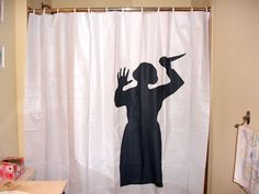 Psycho Curtain. I want to buy this and put it in @Andrew Ross bathroom in the middle of the night. :D