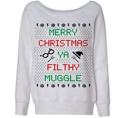 White Wideneck Merry Christmas Ya Filthy Muggle Harry Potter Ugly... (120 RON) ❤ liked on Polyvore featuring tops, sweaters, shirts, white shirt, pullover sweaters, white christmas sweater, white pullover sweater and ugly christmas sweater shirt