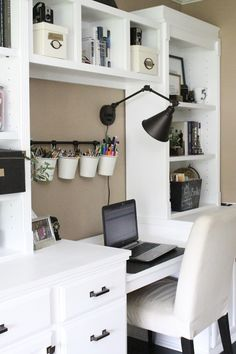 Home office- craft room- reveal- home office space- craft supply storage ideas- One Room Challenge- renovation- home tour- office makeover- One Room Challenge Reveal Week 6- farmhouse style office- neutral decor- built in shelving- styling shelveshttps://mylifefromhome.com/2017/05/one-room-challenge-orc-week-6-reveal-of-a-functional-stylish-home-office/