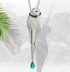 @stenzhorn Diva. The most sensual of the creatures, icon of elegance and beauty.Pendant in 18kt gold, emeralds and white diamonds. #stenzhorn#wildlife#diva#pendant