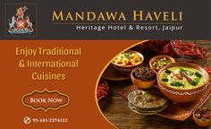 Discover fresh flavors of Indian & International delicacies at Mandawa Haveli. Get Booking Now!! #HeritageHotel #Royal #cuisines #restaurant #food #jaipur #resort #SummerVacations